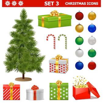 クリスマスのアイコン セット 3 の孤立した白い背景 Premiumベクター