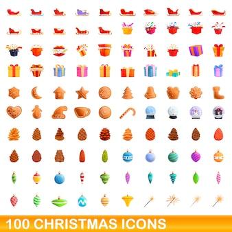 クリスマスのアイコンを設定します。白い背景に設定されたクリスマスアイコンの漫画イラスト