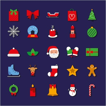 Christmas icons set colorful.  illustration
