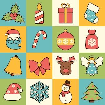 Christmas icons set flat line