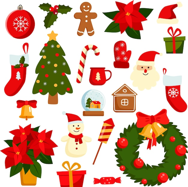 Christmas icons set holiday objects collection illustration