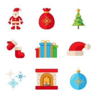 白い背景の上のフラットスタイルで設定されたクリスマスアイコン