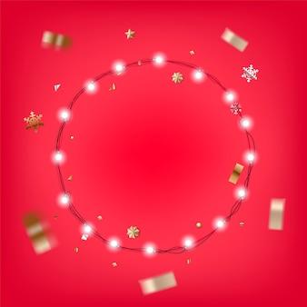 クリスマスに照らされた花輪のイラスト。クリスマスカードベクトルテンプレート