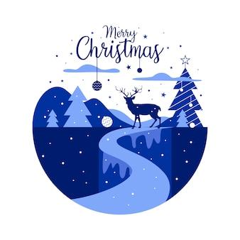 クリスマスイラストと冬のシーズンのテーマ