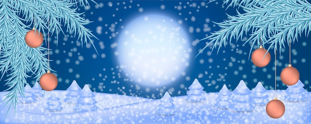 Christmas illustration background with winter night landscape.