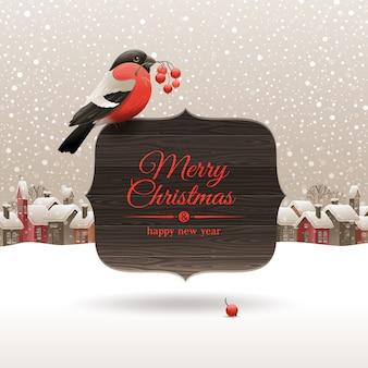 Рождественская иллюстрация - снегирь с рябиной сидит на деревянных баннерах с праздничным приветствием