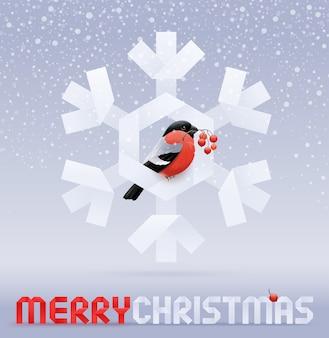 Рождественская иллюстрация - снегирь с веткой рябины сидит на бумажной снежинке