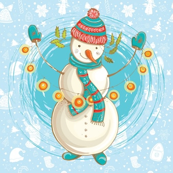 Christmas  illustration of happy snowman.  hand-drawn cute illustration