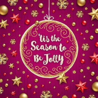 Рождественские иллюстрации - праздничное приветствие в богато украшенной раме и украшении на вязаном фоне.