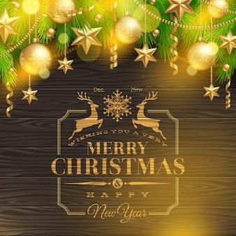 Рождественская иллюстрация - праздничная эмблема приветствия и ветви елки с золотым украшением