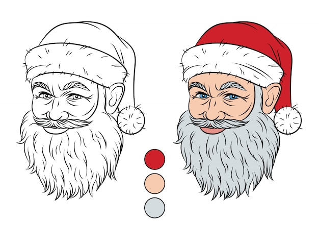 Christmas illustration isolated from white background. santa claus head with color palette for coloring. smiling santa claus face with contour stroke. elements for coloring with color swatches