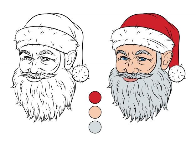 白い背景から分離されたクリスマスイラスト。着色のためのカラーパレットとサンタクロースの頭。輪郭のストロークでサンタクロースの顔を笑っています。色見本で着色するための要素