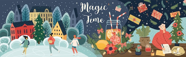 Christmas illustration. magic time. trendy retro style.