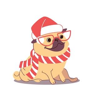Рождественская иллюстрация мопса в шляпе санта-клауса