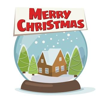 雪とクリスマスツリーとスノードームのクリスマスイラスト。