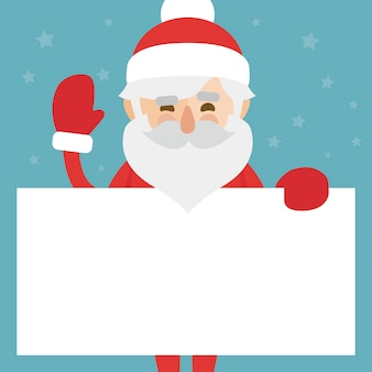 Christmas illustration of santa claus holding blank paper for your text