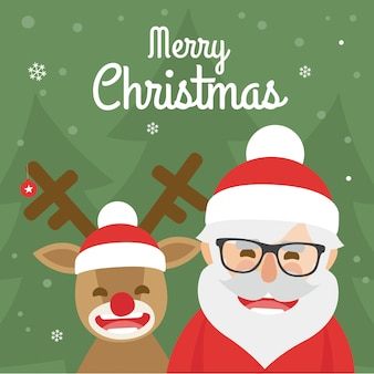 Christmas illustration of santa claus and red nosed reindeer on green background