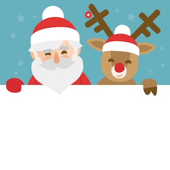 Christmas illustration of santa claus and red nosed reindeer holding blank paper for your text
