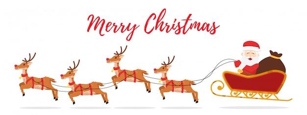 Christmas illustration of santa sleigh