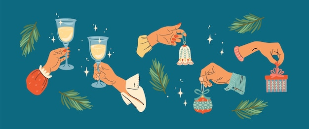 Christmas illustration. set of male and female hands. trendy retro style.