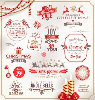 Рождественские иллюстрации - набор праздничных знаков, эмблем и поздравлений.