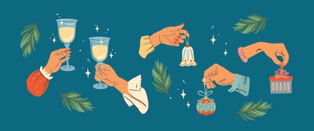 クリスマスのイラスト。男性と女性の手のセット。トレンディなレトロなスタイル。