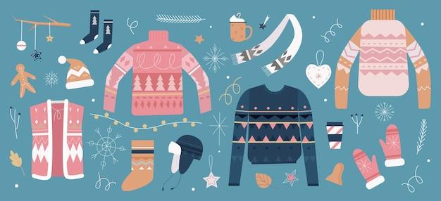 Набор рождественских иллюстраций.