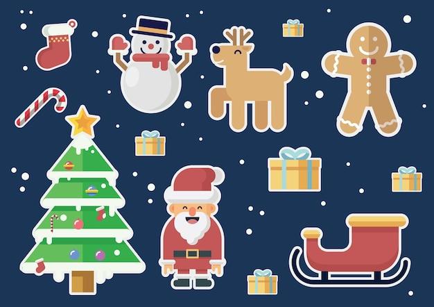 Christmas illustration vector set in flat design style