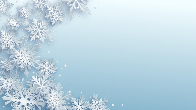 Christmas illustration of white complex paper snowflakes with soft shadows on light blue background