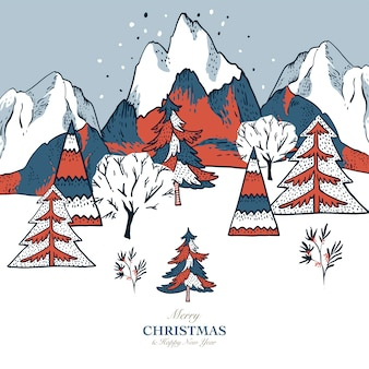Christmas illustration, winter vintage mountains landscape, christmas greeting card