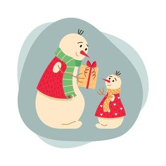 Рождественская иллюстрация с семьей снеговиков. папа дарит дочери подарок. новогодняя открытка.