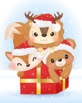 Christmas illustration with cute lion, fox and bear.