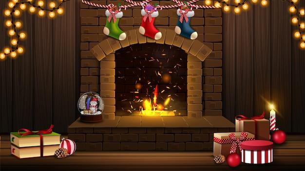Christmas illustration with fireplace, christmas gifts and christmas room decor