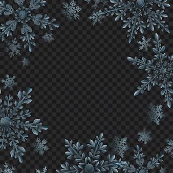 透明な背景に水色の大きな複雑な半透明の雪のフレームとクリスマスのイラスト。ベクトル形式のみの透明度