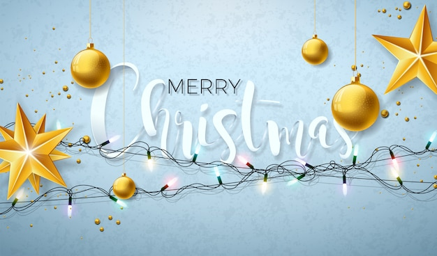 Christmas illustration with glowing lights garland