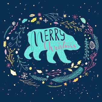 Christmas illustration with handdrawn lettering. funny polar bear with quote merry christmas on snowy background. cute  illustration for card, poster, t-shirt, banner.