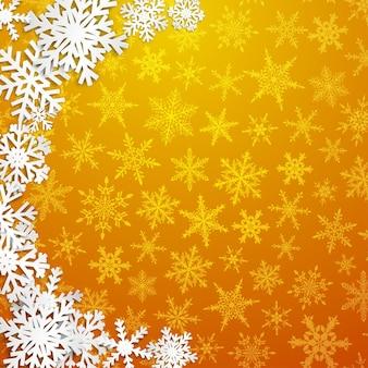 Рождественская иллюстрация с полукругом из больших белых снежинок с тенями на желтом фоне