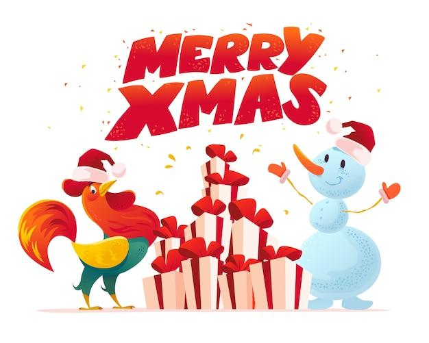 雪だるまとコックの面白いキャラクターの肖像画が分離されたクリスマスイラスト。漫画のスタイル。新年あけましておめでとうございます、メリークリスマスデザイン要素。