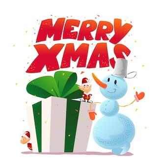 Рождественская иллюстрация со снеговиком и портретом забавного персонажа санта-эльфа. . с новым годом и рождеством элемент. поздравительная открытка.
