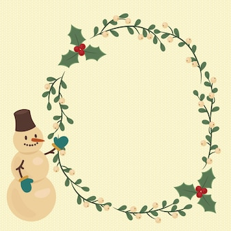 Christmas illustration with snowman and berry wreath