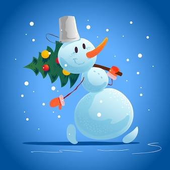 雪だるま面白いキャラクターの肖像画が分離されたクリスマスイラスト。漫画のスタイル。明けましておめでとうとメリークリスマス