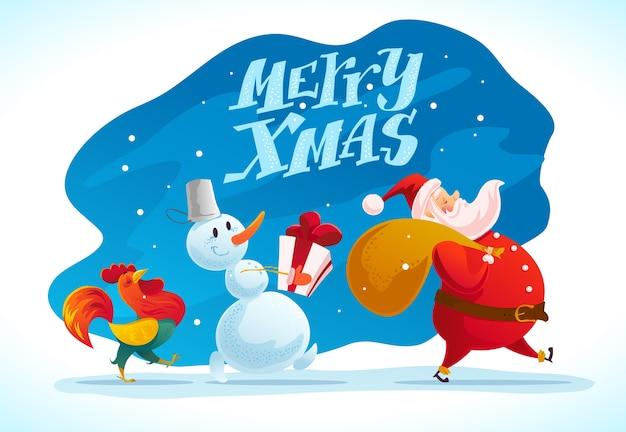 Рождественская иллюстрация со снеговиком, санта-клаусом и портретом забавного персонажа петуха. . с новым годом и рождеством элемент. поздравительная открытка.