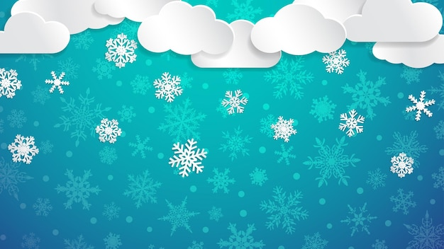 Christmas illustration with white clouds and snowflakes on light blue background