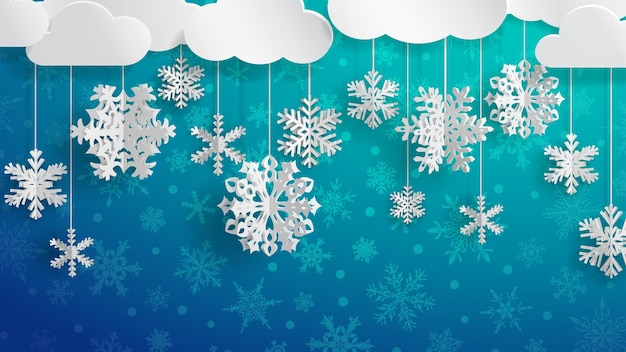 Christmas illustration with white clouds and three-dimensional paper snowflakes hanging on light blue background