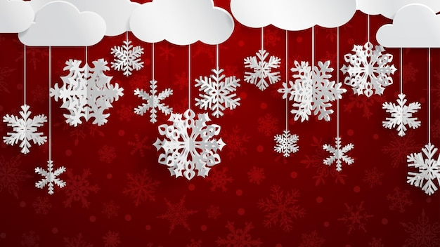 Christmas illustration with white clouds and three-dimensional paper snowflakes hanging on ree background