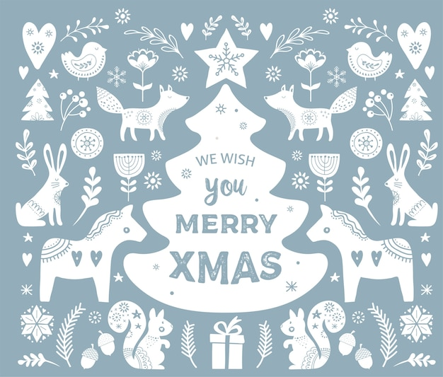 Christmas illustrations, banner hand drawn elements and icons in scandinavian style