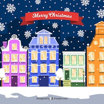 Christmas in a town with colourful buildings