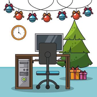 オフィスでのクリスマスイラスト