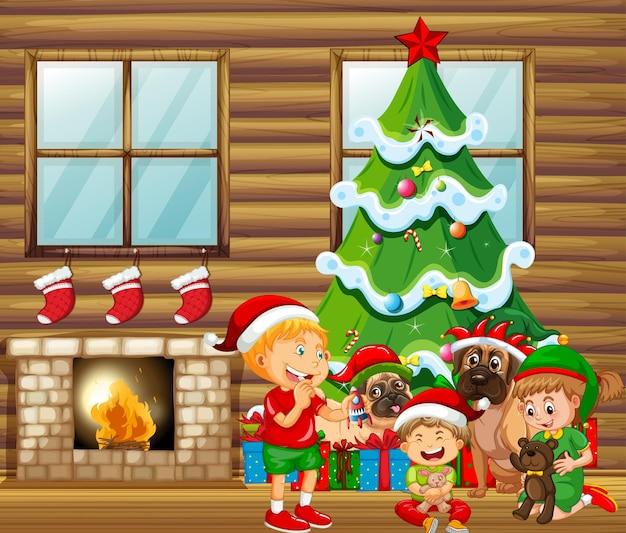 多くの子供たちとかわいい犬とのクリスマス屋内シーン