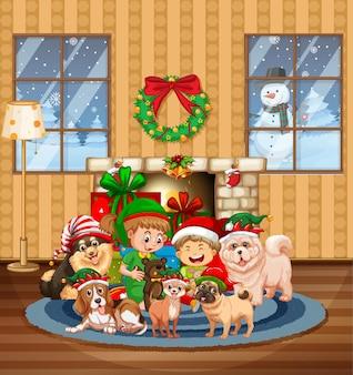 많은 아이들과 귀여운 강아지와 함께 크리스마스 실내 장면
